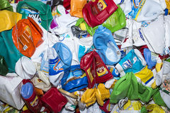 Empty plastic bottles for recycling. The plastic bottles and jugs are collected, sorted and baled for recycling shipment Stock Image