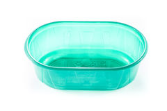 Empty plastic box for food. Empty plastic storage for food in white background Royalty Free Stock Images