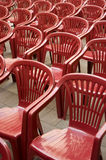 Empty plastic chairs Stock Photo