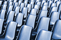 Empty Plastic Chairs at the Stadium Royalty Free Stock Photo
