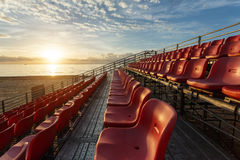 Empty plastic chairs at temporary grandstand stadium in Phuket, Stock Photography