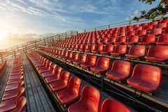 Empty plastic chairs at temporary grandstand stadium in Phuket, Royalty Free Stock Photography