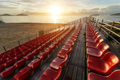 Empty plastic chairs at temporary grandstand stadium in Phuket, Royalty Free Stock Photos