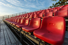 Empty plastic chairs at temporary grandstand stadium in Phuket, Royalty Free Stock Image