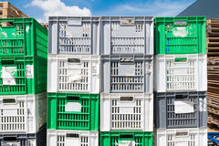 Empty plastic crates Royalty Free Stock Images