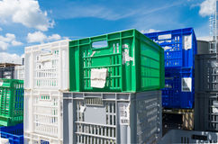Empty plastic crates Royalty Free Stock Photography