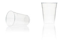 Empty plastic cups Stock Photos