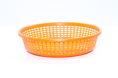 Empty plastic fruit or bread basket. On white background Stock Photo