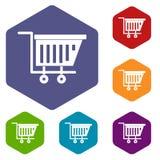 Empty plastic market trolley icons set hexagon Royalty Free Stock Photo