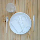 Empty plastic plate. Royalty Free Stock Photography