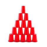 Empty Plastic red cups pyramid Stock Photo