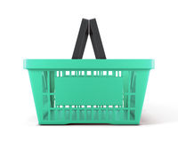 Empty plastic shopping basket for food. On white background. 3d illustration Stock Photo