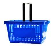 Empty plastic shopping basket on white Royalty Free Stock Photo