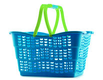 Empty plastic shopping basket on white Royalty Free Stock Photography