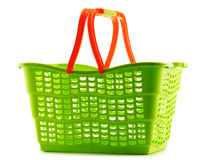 Empty plastic shopping basket on white Royalty Free Stock Images