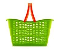 Empty plastic shopping basket on white Stock Images