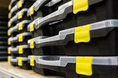 Empty plastic toolboxes Royalty Free Stock Image