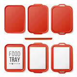 Empty Plastic Tray Salver Set Vector. Rectangular Red Plastic Tray Salver With Handles. Top View. Tray Isolated Royalty Free Stock Photos