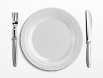 Empty plate. An empty plate on white background Royalty Free Stock Photo