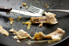 Empty plate. A few bits and pieces left on a plate from an eaten dinner Stock Photography