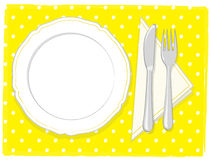 Empty plate vector. Illustration of a empty white plate, fork and knife + vector eps file Royalty Free Stock Photos