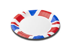 Empty plate. With British flag colors edge royalty free stock photography