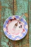 Empty plate with blueberry pie remains on turquoise background Royalty Free Stock Photos