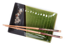 Empty plate and chopsticks Stock Photo