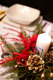 Empty plate on Christmas table Royalty Free Stock Image