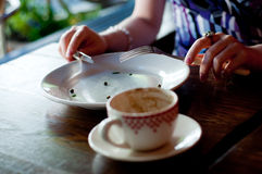 Empty Plate and Coffee Cup Stock Images