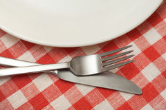 Empty plate with cutlery on checkered tablecloth. Stock Photography