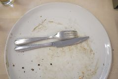 Empty plate and cutlery. In a restaurant Stock Photo