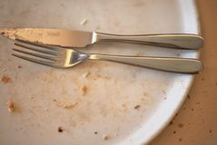 Empty plate and cutlery. Milan, Italy - September 21, 2017 : Empty plate and cutlery in Italy Stock Photo