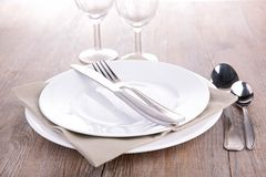 Empty plate and cutlery Royalty Free Stock Image