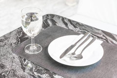 empty plate on dinning table Stock Photography