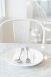 empty plate on dinning table Stock Images