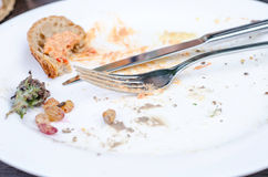 Empty plate. Empty dirty plate after dinner Stock Image