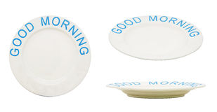 Empty plate or dish with word GOOD MORNING. Isolated on white Royalty Free Stock Photography