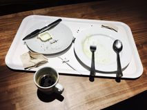 Empty Plate After Eaten Breakfast with Coffee Royalty Free Stock Photos