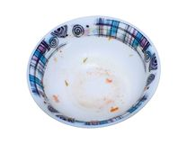 Empty plate after eating soup. Royalty Free Stock Images
