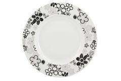 Empty plate with floral decoration with c/p. Empty plate with floral decoration on white background, with clipping path royalty free stock photography