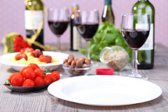 Empty plate and food background. Empty plate for any design Stock Images