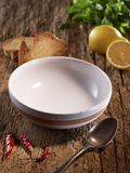 Empty plate on food background Royalty Free Stock Photos