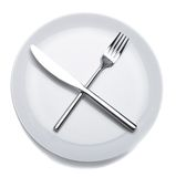 Empty plate with fork and knife. White empty plate with fork and knife stock images