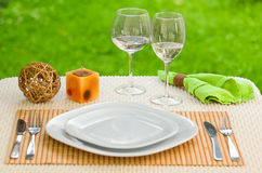 Empty plate with fork and knife against meadow. Royalty Free Stock Photos