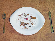 Empty plate, fork and knife. Food, when there is no money for food royalty free stock photo