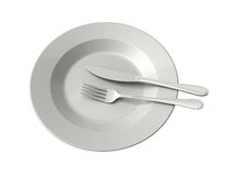Empty Plate, Fork and Knife Stock Photos