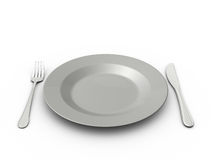 Empty Plate, Fork and Knife Royalty Free Stock Images