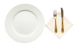 Empty Plate, Fork, Knife, Napkin I Stock Image