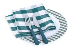 Empty plate with fork, knife and napkin isolated Royalty Free Stock Photo